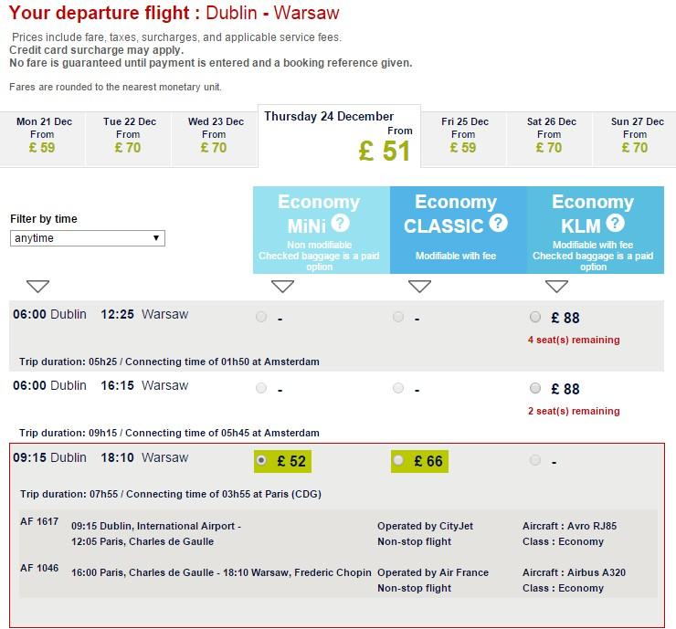 Air France - Dublin - Warszawa