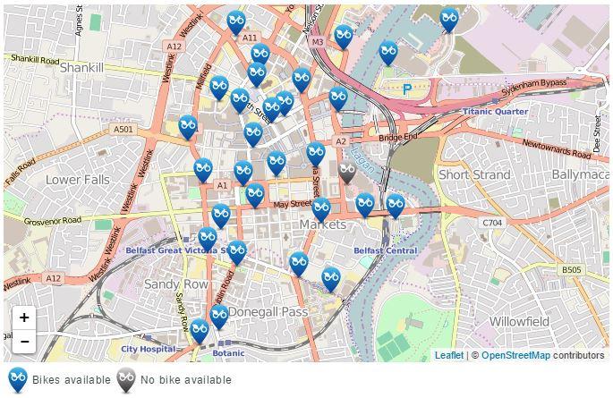 Belfast bikes - Sieć wypożyczalni miejskich rowerów w Belfaście