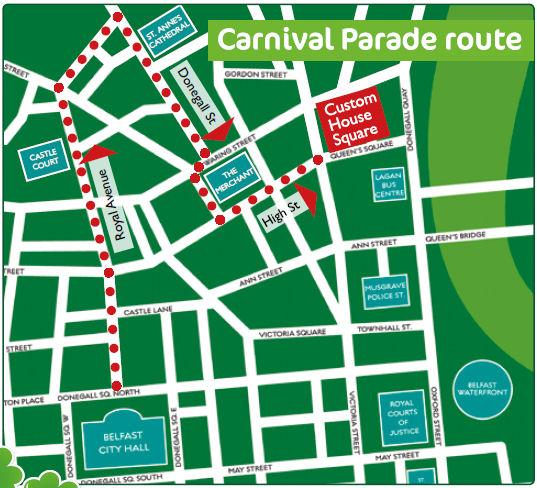 Mapka z trasą tegorocznej parady z okazji Dnia Św. Patryka w Belfaście
